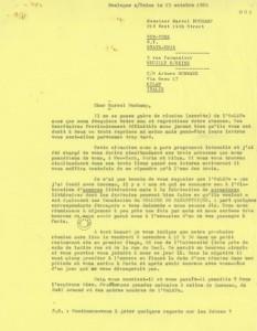 Lettre de François Le Lionnais à Marcel Duchamp du 23 octobre 1964 (source: Fonds Oulipo, Gallica)