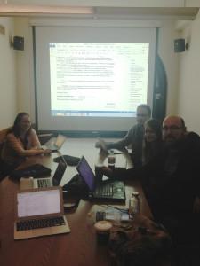 Transcripthon new-yorkais avec l'équipe US (ici: Natalie Berkman, Alain Schaffner, Erika Hendrix, Chris Clarke)